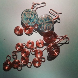 Copper coil earrings