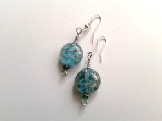 Blue and light glass earrings with silver filled copper img 1